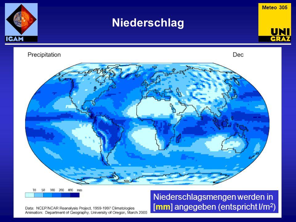 Meteo 305 Niederschlag Niederschlagsmengen werden in [mm] angegeben (entspricht l/m2)